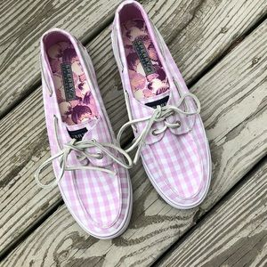 Sperry Pink Gingham Shoes, Sz 8.5